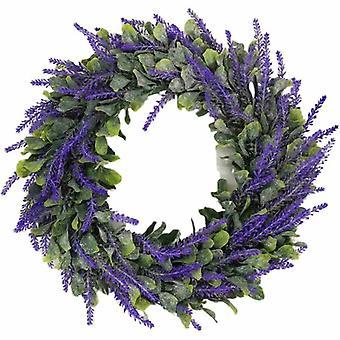 Corona di lavanda artificiale, piante artificiali, piante verdi, decorazioni per la casa, piante da sposa, decorazioni murali, fiori artificiali (ghirlanda di lavanda)