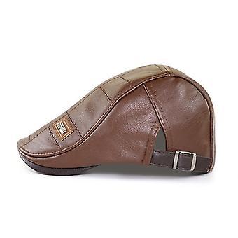 Leather Beret, Warm Hood, Duck, Men's Flat Cap
