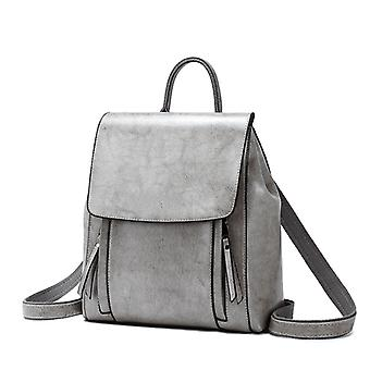 Leather Bag For Women Fashion Oiled Wax Cowhide Backpack