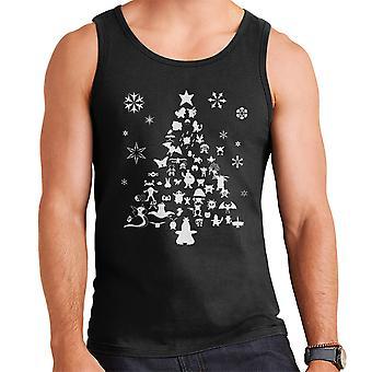 Pokemon Christmas Tree Silhouette White Men's Vest