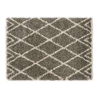 Luxury Shaggy Diamond Grey Beige  Rectangle Rugs Plain/Nearly Plain Rugs