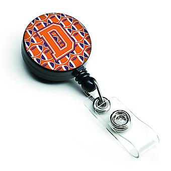 Letter D Football Orange, White and Regalia Retractable Badge Reel