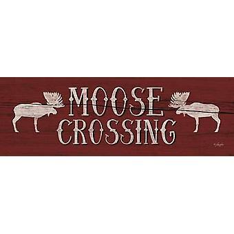 Moose kruising Poster Print door Lauren Rader (18 x 6)