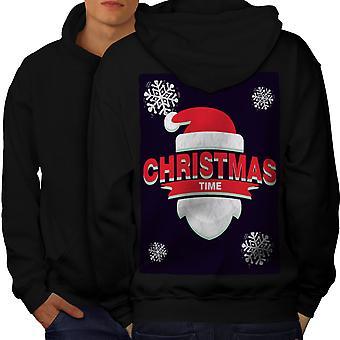 Tempo atrás de BlackHoodie de homens de chapéu de Papai Noel | Wellcoda