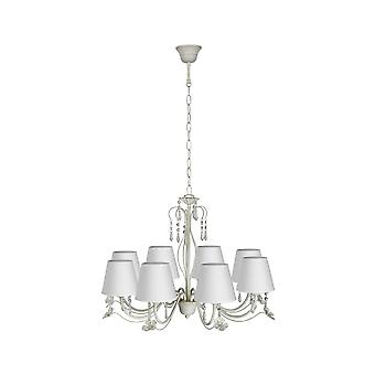 Lucide BARI Chandelier 8xE14 Shade Ant.White