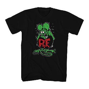 Rat Fink Ratfink Distressed Men's Black T-shirt