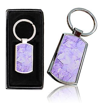i-Tronixs - Premium Marble Design Chrome Metal Keyring with Free Gift Box (1-Pack) - 0023