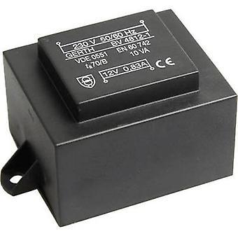 Gerth PT481201F PCB mount transformator 1 x 230 V 1 x 12 V AC 10 VA 833 mA
