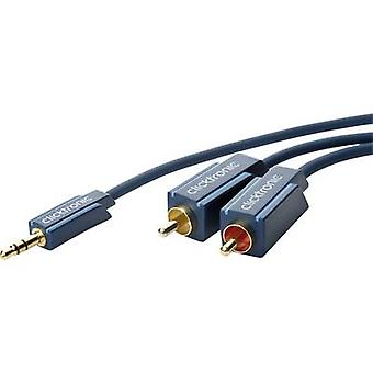 clicktronic Jack / RCA Audio/phono Cable [1x Jack plug 3.5 mm - 2x RCA plug (phono)] 10.00 m Blue gold plated connectors