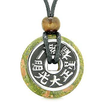 Große doppelte Glück reversibel Fortune Coin Donut Unakit Feng Shui Befugnisse Anhänger Halskette