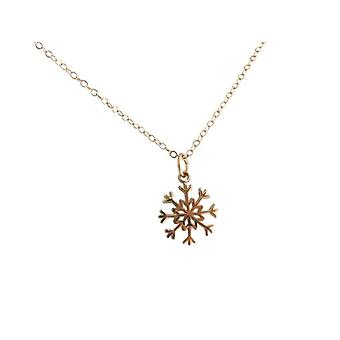 Remorque collier - flocon de neige - 925 - Collier - argent - or - 1,5 cm