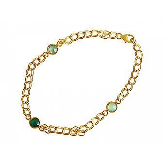 Damen - Armband - Vergoldet - Smaragd - Chalcedon - Grün - Meeresgrün - Kette - Geschmeidig