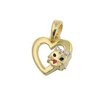 Сердце кулон с кошкой 10х10мм 9Kt золото