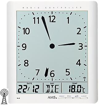 AMS 5896 wall clock clock radio white digital date alarm thermometer