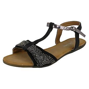 Womens Savannah T-Bar Beaded Bow Vamp Sandals