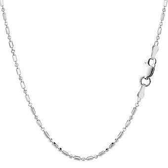 Rodowane srebro pozłacane i Diamond Cut koralik naszyjnik łańcuch, 1, 5mm