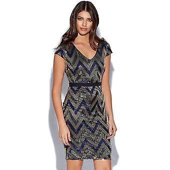 Blue Zig Zag Shimmer Sequin Dress