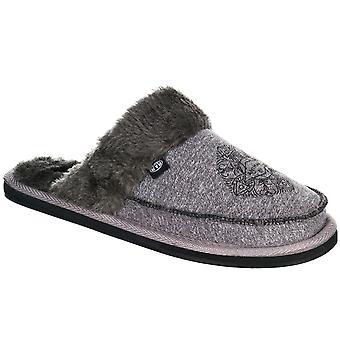 Animal Womens Bessie Warm Winter Slip On Suede Slippers - Grey