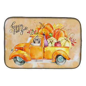 Carolines Treasures  CK2634DDM Fall Harvest Shih Tzu Dish Drying Mat