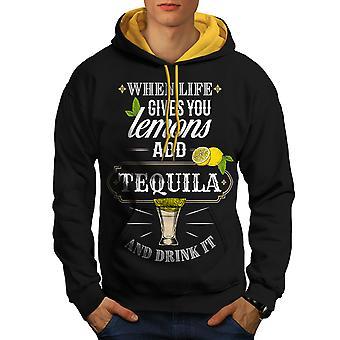 Tequila Lemons Joke Men Black (Gold Hood)Contrast Hoodie | Wellcoda