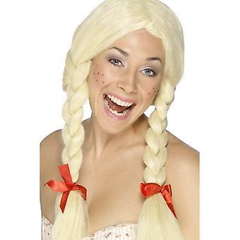 Pitkään blondi punottu peruukki, koulutyttö / Hollanti peruukki letit ja nauhat