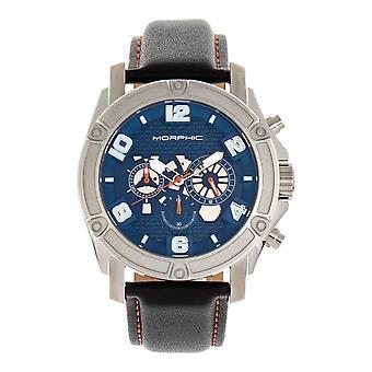 M73 mórfico série cronógrafo couro-Band Watch - prata/azul