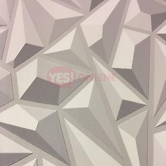 3D Effect Grey Geometric Wallpaper Textured Luxury Vinyl Modern Feature Erismann