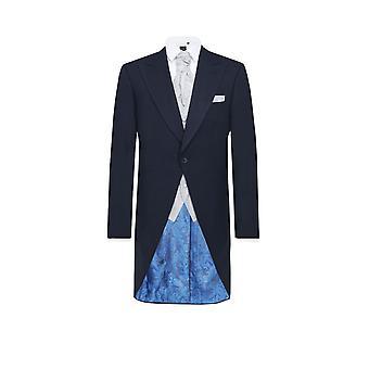 ・ ドベル メンズ ネイビー ヘリンボーン 2 ピースの朝のスーツ レギュラー フィットのズボンに一致します。