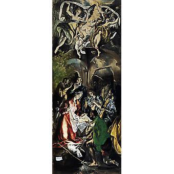 Aanbidding van de herders aanbidding van de, Greco El, 80x32cm