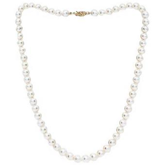 Pearls of the Orient Almost Round Cultured Akoya Pearl Necklace - White/Gold