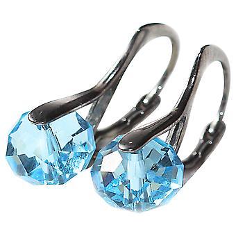 Ah! Jewellery Aqua Marine Briolette Crystals From Swarovski, Sterling Silver Earrings