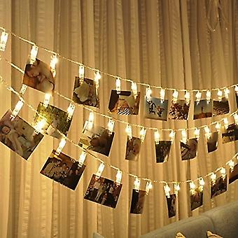 LED Photo Clip String Lights - 40 Photo Clips - Great for Hanging Photos Pictures Notes Paintings Cards - 3 AA Batteries