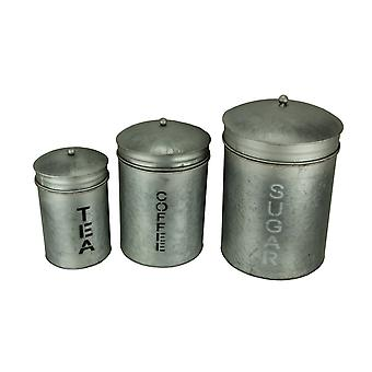 Grey Galvanized Finish Metal Sugar Coffee Tea Kitchen Canister Set