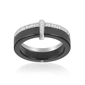 Black Ceramic Ring, White Zirconia Zirconia Crystals and Silver 925 - T50 2925