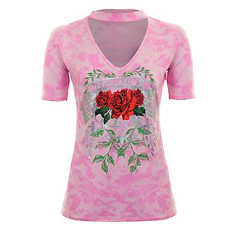 Ladies Choker V Neck Short Sleeve Camo Rose Rock Print Casual T-Shirt Top