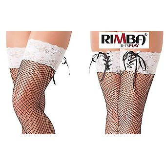 'Rimba Lingerie Black Fishnet Hold Up Tights With Floral Lace Tops (R1