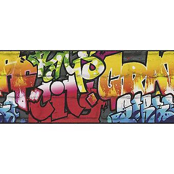 Rasch graffiti behang Border-zwart 237900
