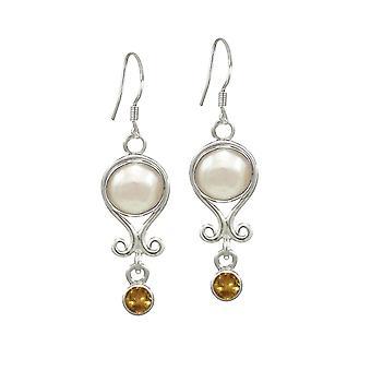 Eeuwige collectie November Citrien en Pearl zilver Birthstone Drop doorstoken oorbellen