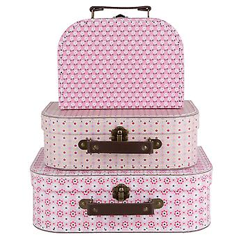 Sass & Belle Set Of 3 Spring Retro Daisy Suitcases