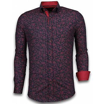 E Shirts - Slim Fit - Leaves Pattern - Black
