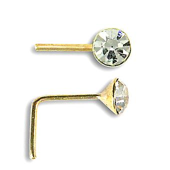 Jewelco London Ladies Solid 9ct Yellow Gold White Round Crystal Solitaire Nose Stud 2mm