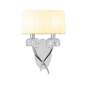 Mantra M4634/S Loewe Wall Lamp 2 Light E14, Polished Chrome With Cream Shade