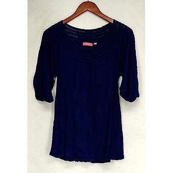 Ava Rose Lattice Embellished 3/4 Sleeve Knit Tee Blue Top Womens #3
