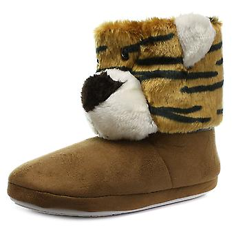 Belle & Mimi Tiger Womens Novelty Boot Slippers
