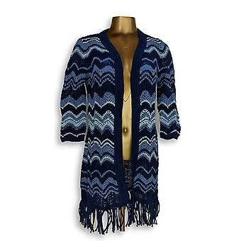 Isaac Mizrahi Live! Women's Sweater TRUE DENIM Chevron Knit Azul A306374