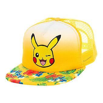 Pokemon Unisex Pikachu knipogend gezicht met bloemmotief Trucker Snapback Baseball Cap een grootte geel (BA2BGSPOK)