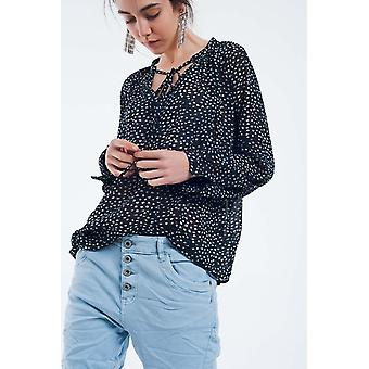 Thin navy blouse with v-neck