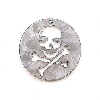 Schedel en Crossbones-metalen gesneden ornament 4x4in