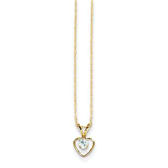 14k Yellow Gold Polished Spring Ring 3mm Aquamarine Heart for boys or girls pendant 15 Inch Measures 10x6mm