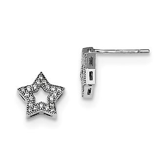 925 Sterling Silver Pave Rhodium plated and CZ Cubic Zirconia Simulated Diamond Brilliant Embers Star Post Earrings Jewe
